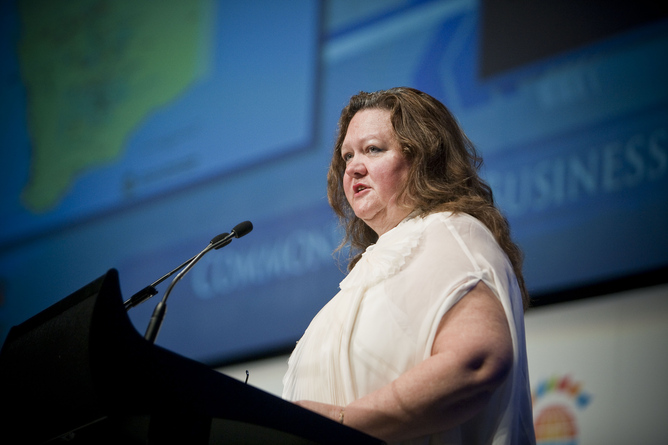 Gina Rinehart, Chair of Hancock Prospecting, speaks during a business session during a CHOGM event held in Perth, Wednesday, Oct. 26, 2011. The business forum comes ahead of the three-day Commonwealth Heads of Government Meeting (CHOGM) starting on Friday. (AAP Image/Tony McDonough) NO ARCHIVING